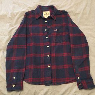 《二手》Hollister長袖藍紅格紋襯衫(L號)