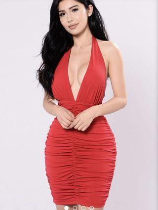 Fashionnova Red Ruched Halter Dress