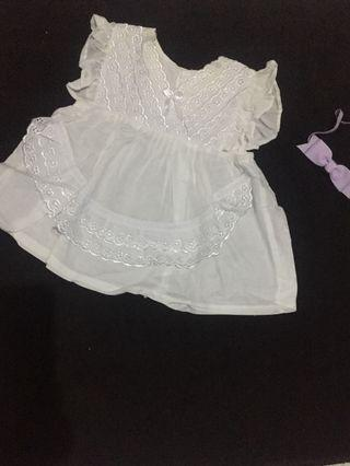 Cotton White Dress size 0-6 M