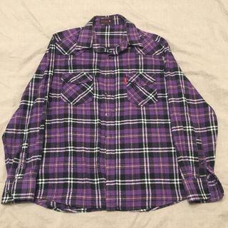 《二手》Ibex sport長袖紫色格紋襯衫(L號)