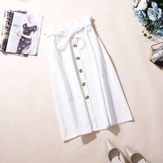White Button Midi Skirt