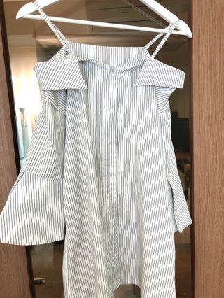 Kemeja fashion hem sabrina top stripe atasan