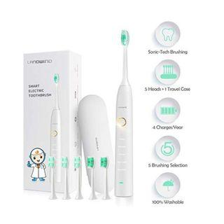 (E1196) Sonic Toothbrush, LANDWIND Electric Toothbrush with 5 Brushing Heads, USB Charging, Smart Timer