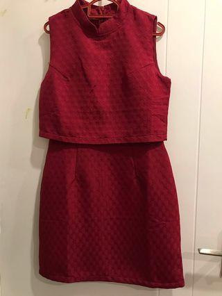 Dark Red Boxy dress