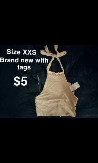 xxs Champagne Peach Luxe Halter Crop Top Brand New