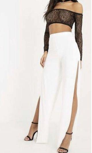 Darsee cream side split slinky trousers