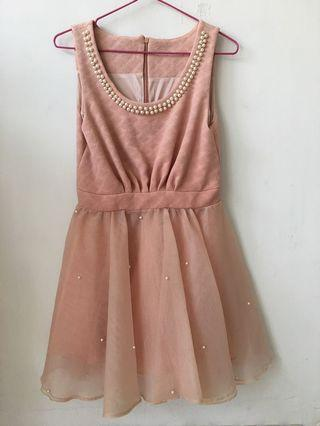 🚚 正韓 氣質珍珠紗裙洋裝 小禮服