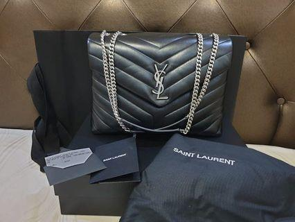 "YSL LOULOU MEDIUM BAG IN BLACK ""Y"" MATELASSÉ LEATHER  neverbeen Used like a new, complete set"