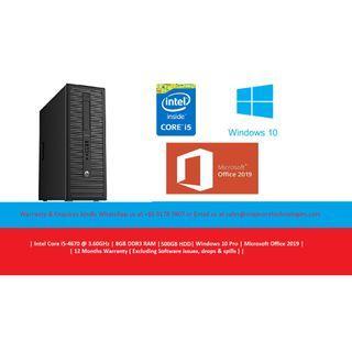 [Refurbished] Hewlett-Packard (HP) EliteDesk 800 G1 MT | Intel Core i5-4670 @3.60GHz | 8GB DDR3 RAM | 500GB HDD | Windows 10 Pro | Microsoft Office 2019 | 1 Year Warranty |