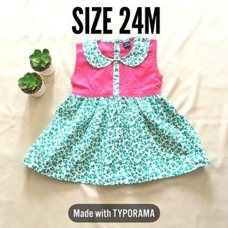 Girl Dress Baju Kembang Baby warna pink