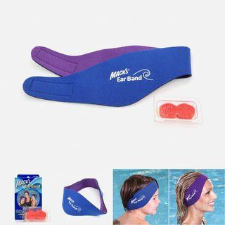 Mack's Ear Band Swimming Headband with Silicone Putty Earplugs — Waterproof Adjustable Neoprene Head Hair for Baby Children Kids Toddler Adult Bathing Swim EarPlugs Plugs Tubes Protection Prevent Swimmer's Infection Eardrum Perforations Band-It It 游泳头带