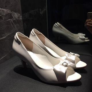 Swarovski Anna Nucci White Bridal Heels - Open Toes