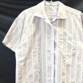 🚚 日本古著短袖藍白條紋襯衫
