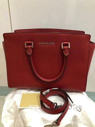 412e420ce919 Authentic Michael Kors Selma Medium Chilli Red shoulder bag crossbody tote
