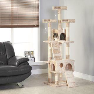 Cat Tree House Condo Scratch Post Pole Toy Kitten