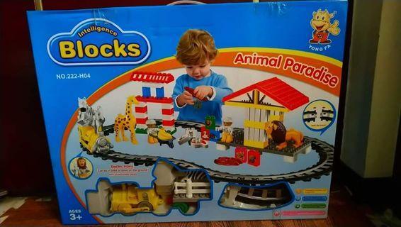 全新動物積木電動軌道組玩具
