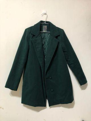 綠色毛呢大衣(加棉) #五折清衣櫃