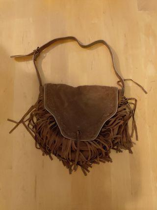 Woman bag suede brown American vintage