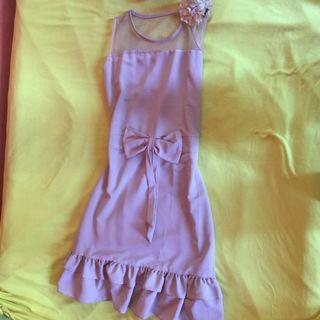 Ruffle nude dress