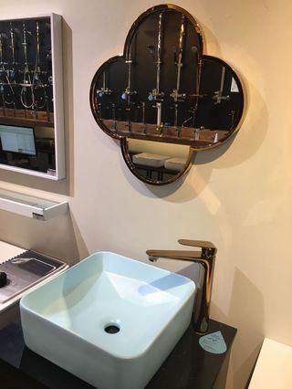 Rose gold mirror + rose gold mixer + blue table top basin