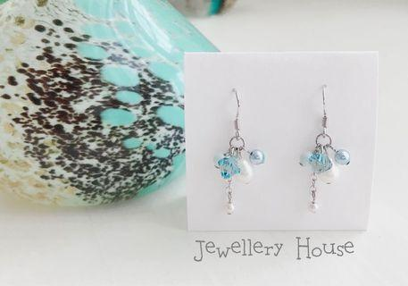 🚚 Handmade Pastel Blue Earrings