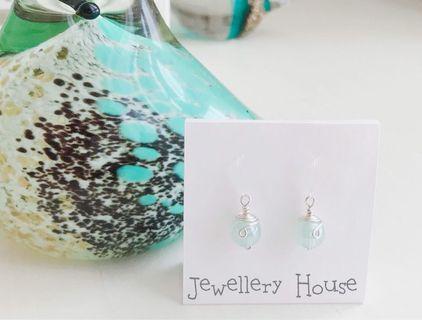 🚚 Handmade Wired Blue Earrings