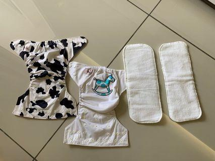 Waterproof Washable Reusable Diapers with Fibre Absorbent Inserts