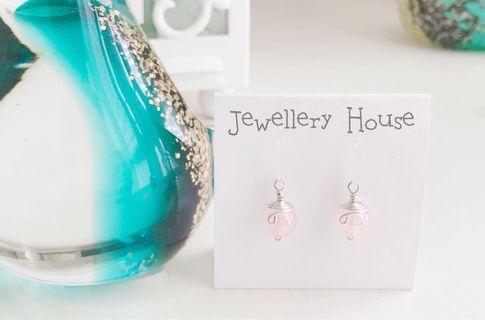 🚚 Handmade Wired Pink Earrings