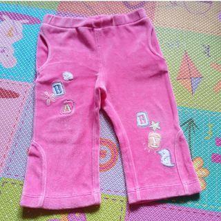 🚚 二手粉色絨面口袋保暖小喇叭褲 12-18M