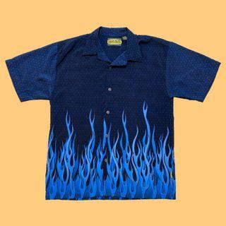 JCI:Vintage 古著 藍火焰花襯衫 和柄 / 夏威夷衫 / SUPREME / LA Flame 華青風格