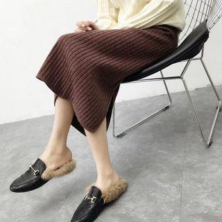 🚚 4/24旋轉快閃免運✨韓 手感超好 加厚 條紋針織包臀長裙 半身裙 開衩 裙 焦糖咖啡