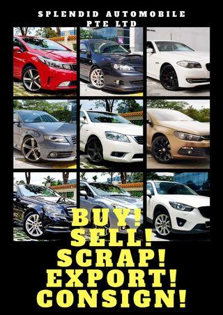 BUY! SELL! SCRAP! EXPORT! CONSIGN! HIGH VALUE FOR USED CARS!