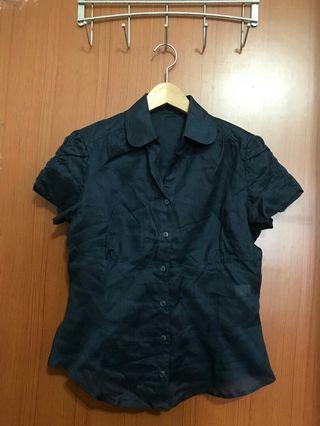 日本製 女生 亞麻短袖襯衫 深藍色 L號