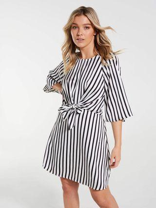 BNWT Dotti Stripe Skater Dress with Front Tie