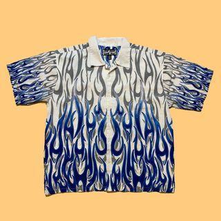 JCI:Vintage 古著 藍白火焰印花襯衫 朋克風格 / 夏威夷衫 / SUPREME / Y2K