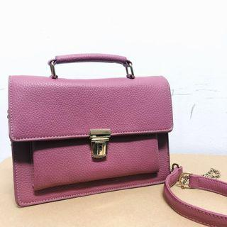 🚚 Cross-sling Satchel / Handbag (Burgundy/Grey)