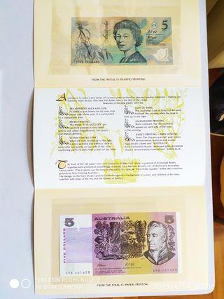 全新直版澳洲紙幣$5×2(1991-2)發行第一張膠鈔及最後一張紙鈔套封