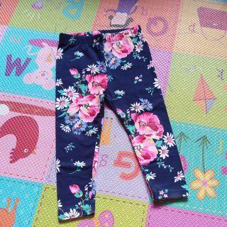 🚚 9成新「Gap」薄款深藍花朵長褲/貼腿褲 18-24M