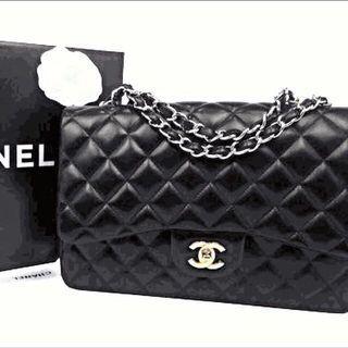 CHANEL JUCHANEL JUMBO小羊皮雙銀鍊COCO包(黑色-30cm) -❤️女人啊❗️妳ㄧ定要擁有❗️晶華酒店專櫃購