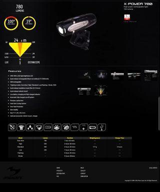 Cree LED, 780 Lumens, Xtra Batt, Moon Lights