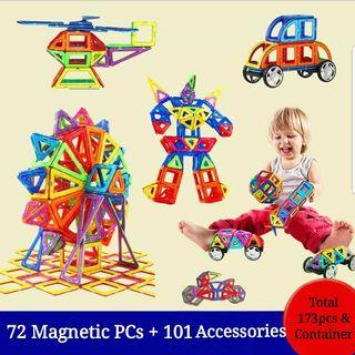 173pcs Magnetic Magformer Compatible Building Construction Robots Flyer Windmill Vehicles Cars Numbers Animals Puzzles Blocks Educational Toy set