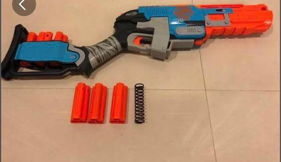 Nerf sledgefire with 6 shells modded