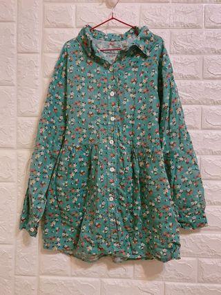 🚚 綠色碎花襯衫洋裝