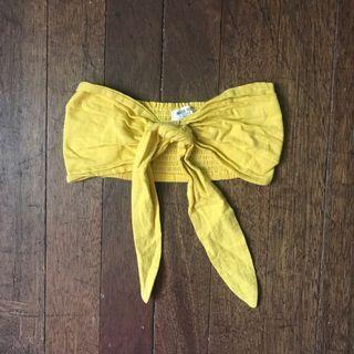Yellow Linen Bandeau Tube Top