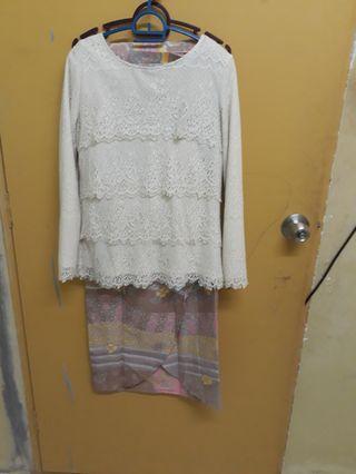 Mini kurung lace&batik pastel