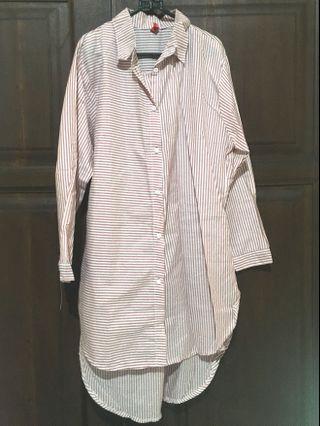 Kemeja dress motif stripe soft pink