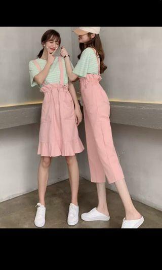 PO 29 Half Waist Ruffle Pattern Thick Strap Romper Pants & Skirt Romper 2 Colours Ulzzang white / pink