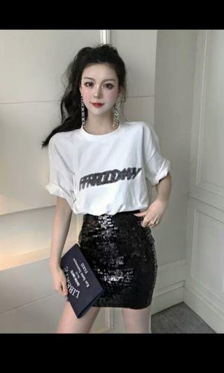 PO 30 Friday Wording Short Sleeve T-Shirt Top with Shiny Glitter Sequin High Waist Mini Skirt 2 Piece Set Ulzzang