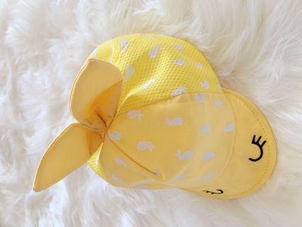 嬰幼兒女baby檸檬黃帽子 刺繡可愛帽子