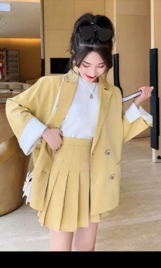 PO 31 Yellow Long Sleeve 2 Button Blazer Jacket Outwear with Pleated Layered High Waist Mini Skirt 2 Piece Set Ulzzang